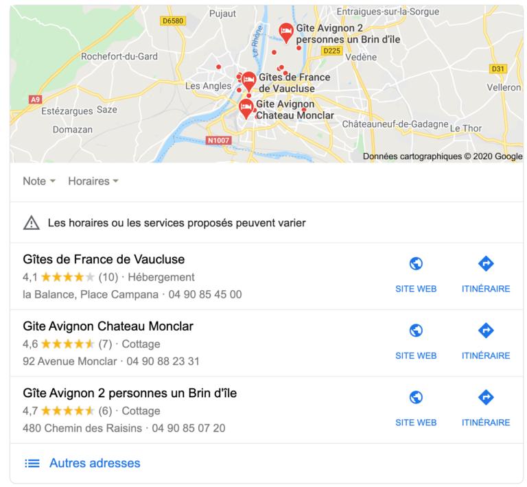 Capture d'écran du Pack local lors de la requête gîtes avignon sur Google